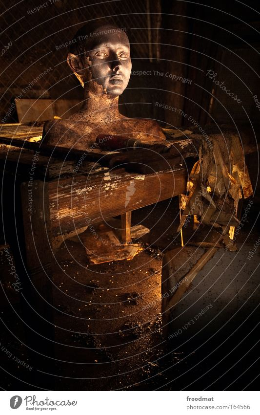 Human being Old Dark Head Sadness Brown Power Art Dirty Gold Table Esthetic Retro Broken Observe Transience