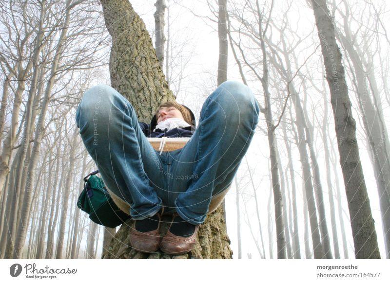 serotonin & dopamine Baltic Sea Fog Tree Forest Woman feminine recover Human being Blue Honey Freedom Really Section of image