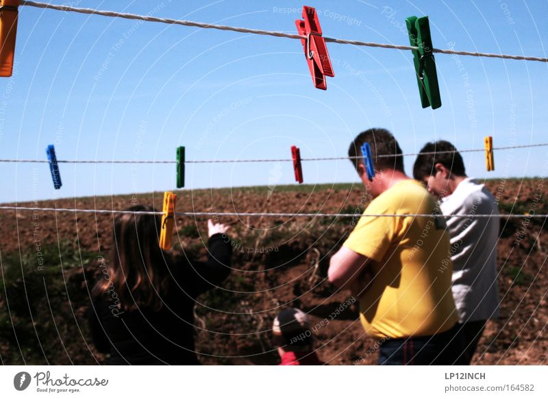 Woman Child Man Blue Summer Adults Landscape Yellow To talk Brown Earth Field Back Infancy Masculine Village