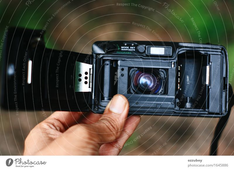 Rear view analog camera Lifestyle Style Design Leisure and hobbies Camera Technology Metal Plastic Utilize Observe Touch To hold on Old Black Silver Analog