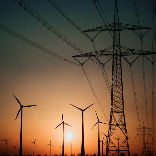 We are the Champions Technology Advancement Future Energy industry Renewable energy Wind energy plant Electricity pylon High voltage power line