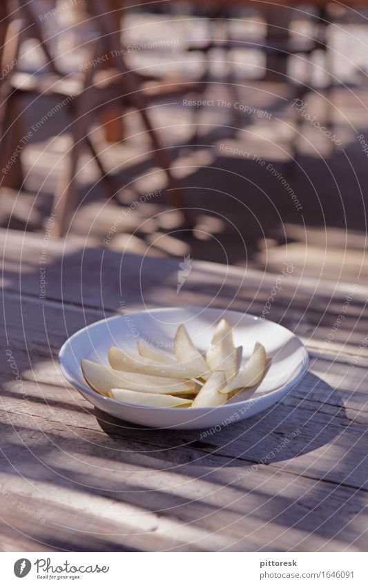 pear plate Lifestyle Elegant Exotic Esthetic Pear Compote Delicious Noble Decent Sunlight Visual spectacle Shadow play Dessert Healthy Eating Health care Plate