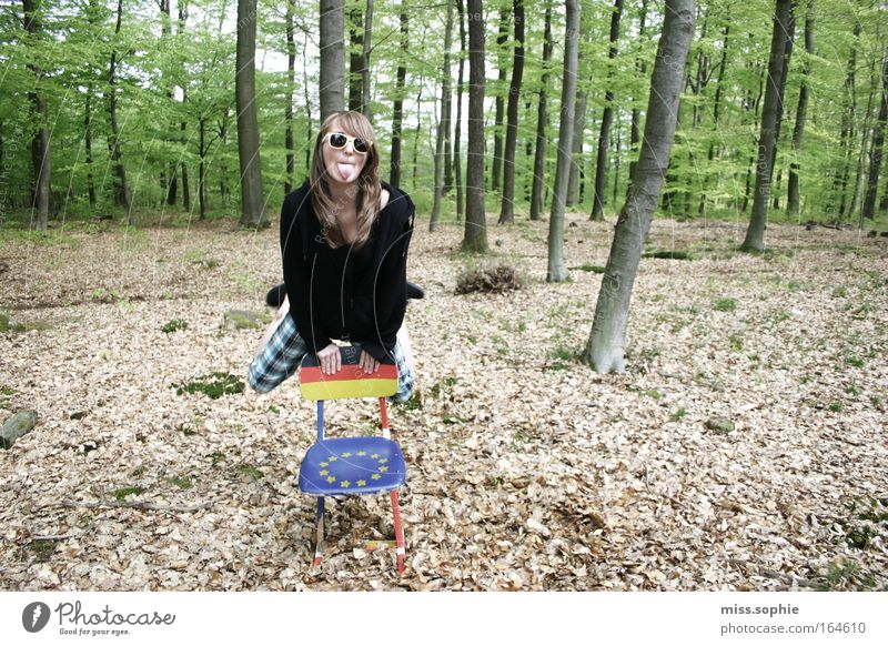ääätsch Colour photo Exterior shot Day Front view Joy Freedom Feminine Young woman Youth (Young adults) 1 Human being Nature Beautiful weather Tree Leaf Forest
