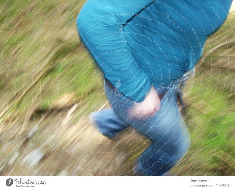You got me! Colour photo Exterior shot Day Motion blur Downward Summer Hiking Feminine Environment Nature Earth Moss Jeans Jacket Belt Breathe Running Movement