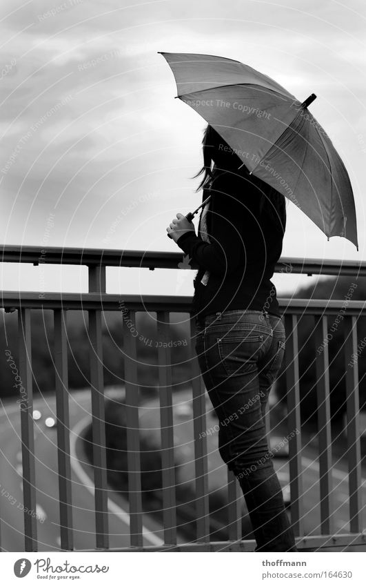 thought gap Black & white photo Exterior shot Copy Space left Copy Space top Day Full-length Rear view Looking away Human being Feminine Young woman