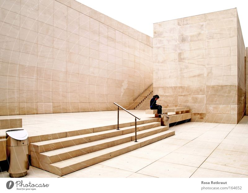 white cube Deserted Manmade structures Building Architecture Wall (barrier) Wall (building) Stairs Observe Sit Sadness Wait Threat Sharp-edged Simple Elegant