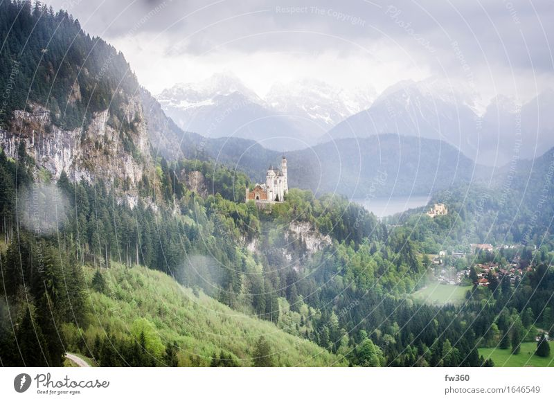 Cloudy View Neuschwanstein Castle Bavaria Germany Europe Village Populated Deserted Palace Tourist Attraction Landmark Cable car Ski lift Identity Calm
