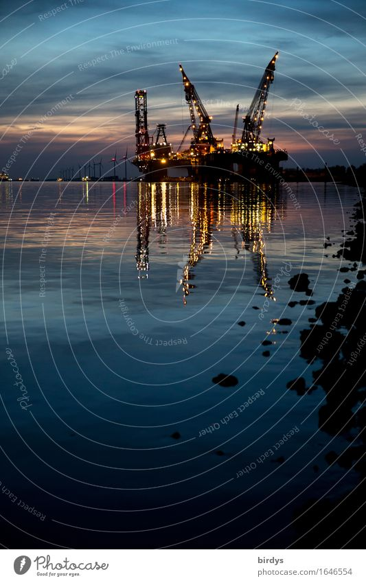Water Coast Business Stone Work and employment Glittering Growth Illuminate Esthetic Technology Energy Industry Logistics Harbour Wind energy plant River bank