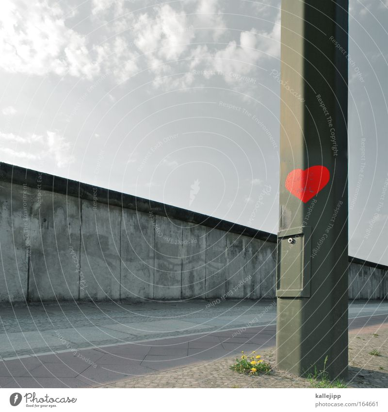 Berlin Reunification Red Love Wall (building) Wall (barrier) Graffiti Heart Architecture Future Sign Border Federal eagle Monument Division