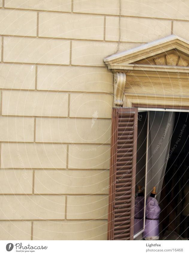 Bust at the window Window House (Residential Structure) Wall (building) Shutter Wood Violet Italy Drape Photographic technology classic. classicism Loneliness