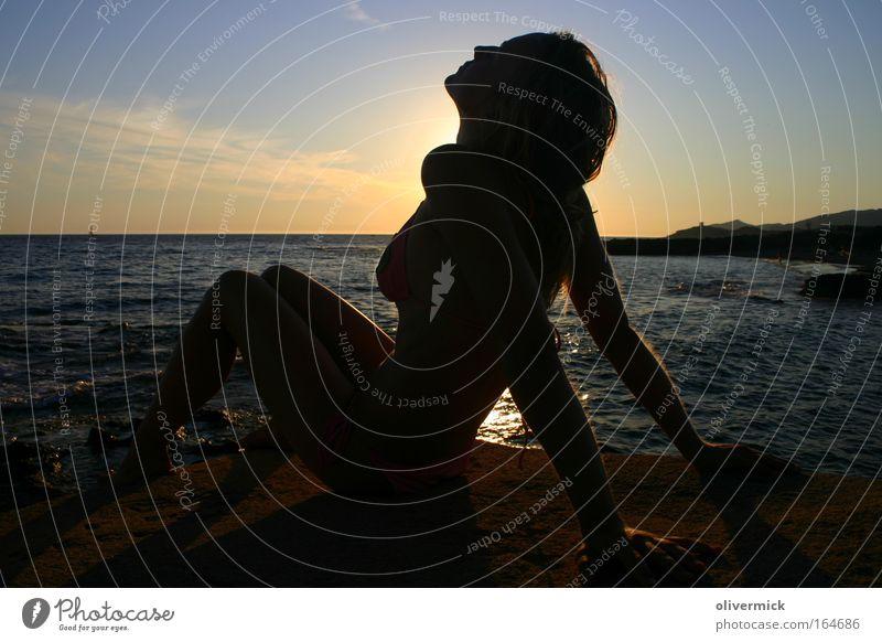goose skin Multicoloured Exterior shot Evening Silhouette Sunrise Sunset Back-light Full-length Profile Harmonious Well-being Relaxation Beach Ocean Feminine