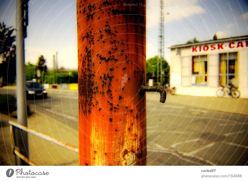 City Red Street Car Metal Gastronomy Whimsical Rust Train station Road traffic Town Outskirts