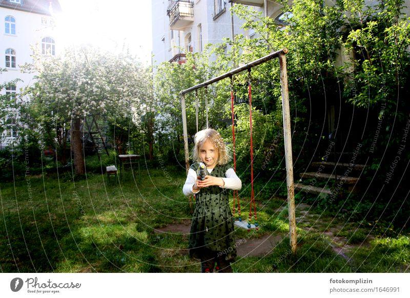 Light shot Children's game Girl Spring Summer Garden Backyard Swing Water pistol Playing Illuminate Emotions Moody Joie de vivre (Vitality) Joy Idyll Infancy