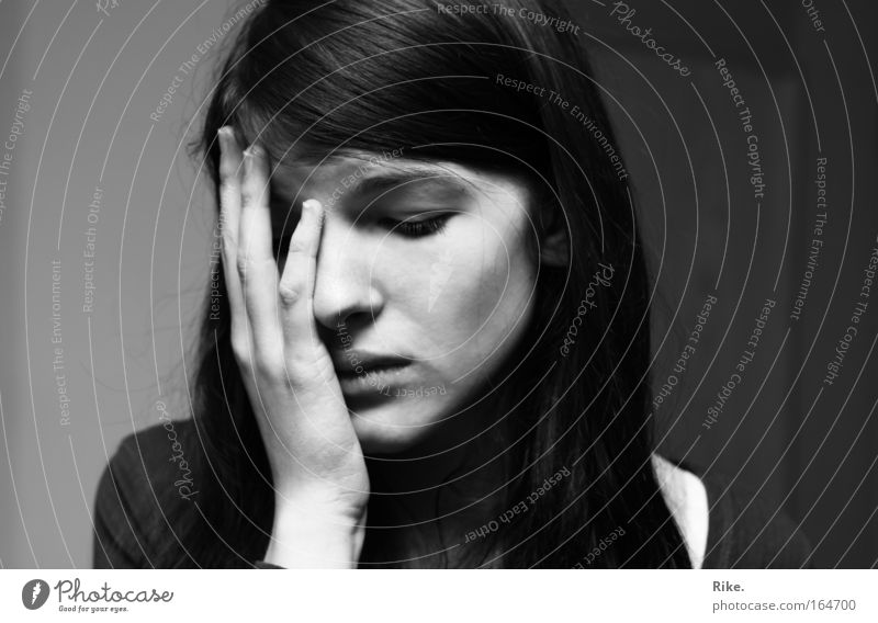 A picture of grief. Black & white photo Portrait photograph Looking away Human being Feminine Woman Adults Youth (Young adults) Head Hair and hairstyles Face