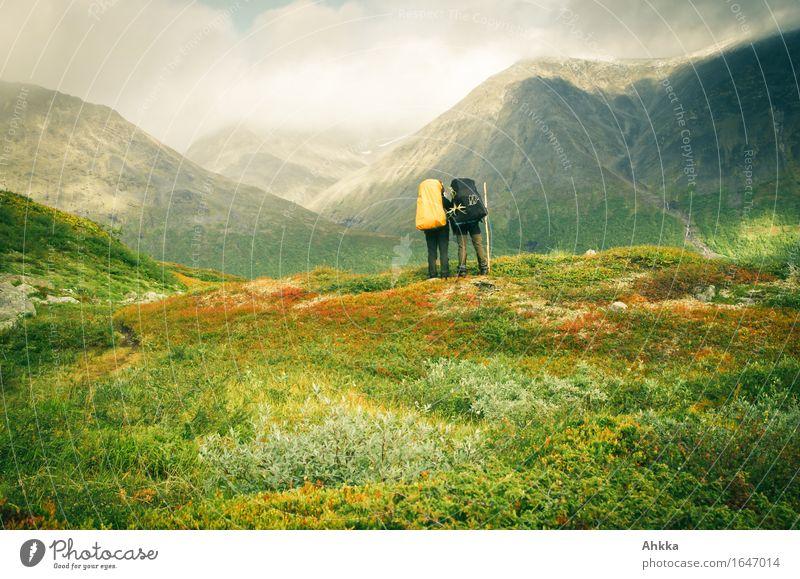 adventurer Vacation & Travel Adventure Far-off places Freedom Mountain Hiking 2 Human being Landscape Autumn Moody Beginning Horizon Dream Future Attachment
