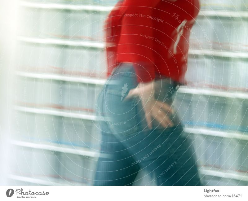 Woman Human being Red Walking Speed Jeans Bottom Shelves Distorted