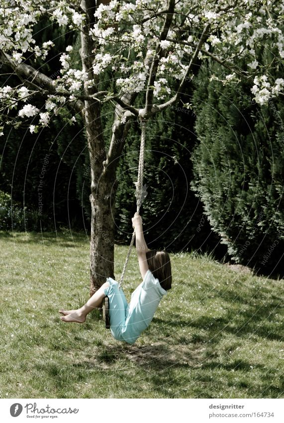 Child Girl Calm Relaxation Playing Grass Spring Garden Freedom Happy Dream Sadness Contentment Weather Study
