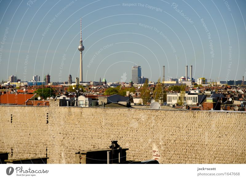 Berlin firewall with panorama over the city Cloudless sky Beautiful weather Warmth Neukölln Capital city Downtown House (Residential Structure) Architecture