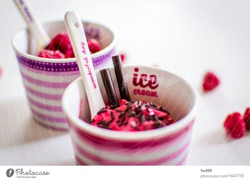 Raspberry Frozen Yogurt Closeup Food Yoghurt Dairy Products Fruit Dessert Ice cream Nutrition Eating Slow food Crockery Mug Feasts & Celebrations Birthday Diet