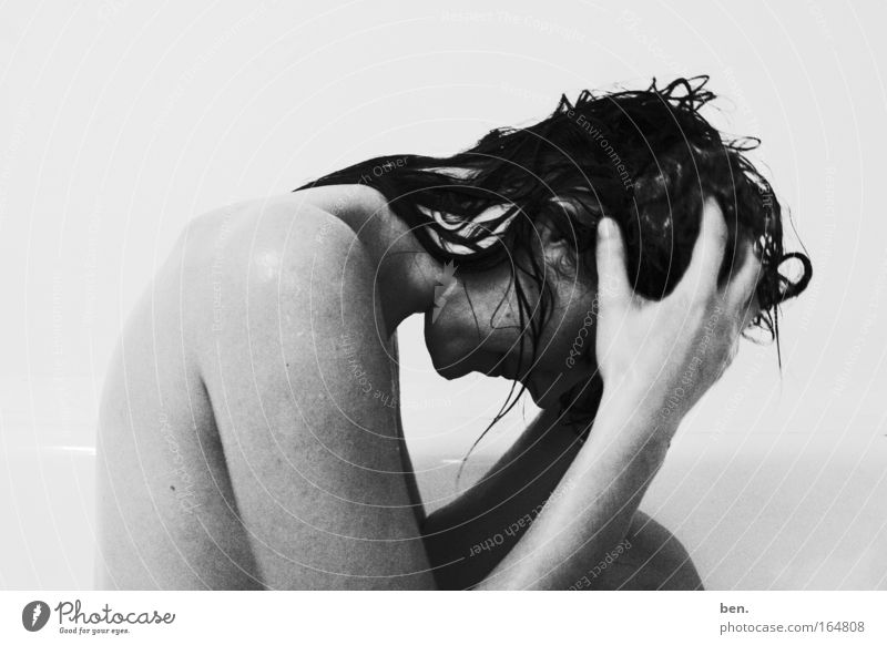 wash one's head Black & white photo Interior shot Neutral Background Central perspective Upper body Downward Human being Feminine Young woman