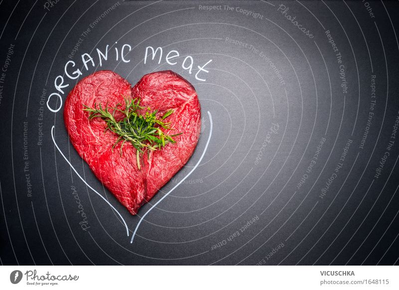 Heart shaped from raw meat with text: Organic Meat Food Herbs and spices Nutrition Organic produce Lifestyle Shopping Style Design Healthy Eating Restaurant