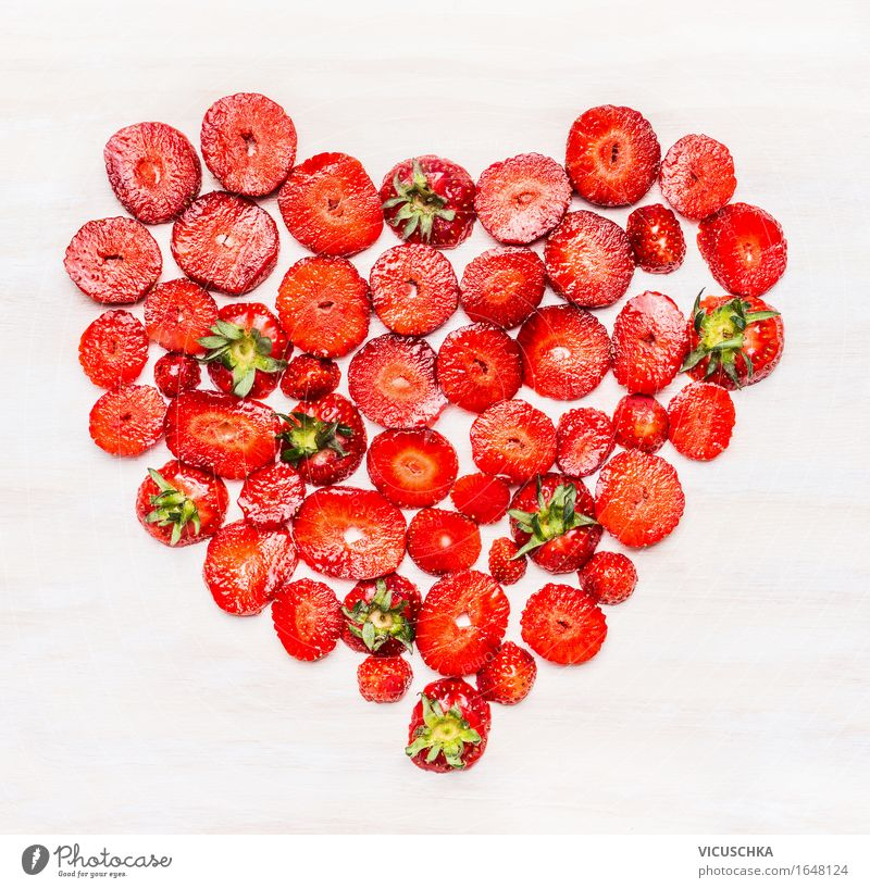 Heart-shaped, sliced from strawberries Food Fruit Nutrition Breakfast Organic produce Vegetarian diet Diet Style Design Healthy Eating Life Valentine's Day