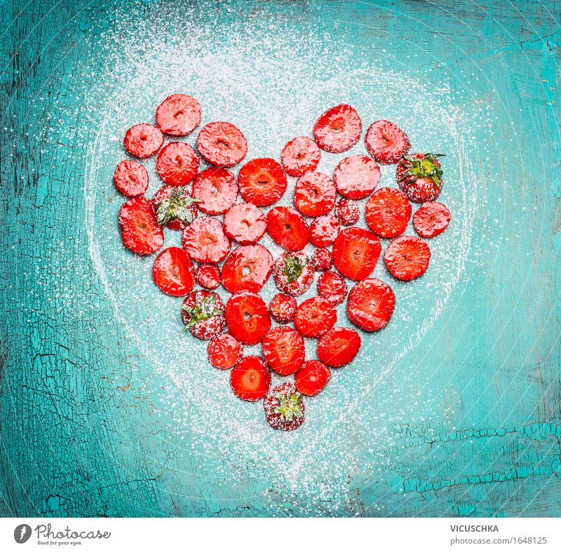 Cut strawberries in heart form on turquoise blue Food Fruit Dessert Nutrition Breakfast Organic produce Vegetarian diet Diet Style Design Healthy Eating Life