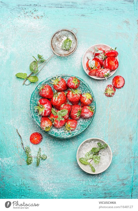 Strawberries served in the blue bowl with mint Food Fruit Dessert Candy Nutrition Breakfast Organic produce Vegetarian diet Diet Plate Bowl Summer Nature Design