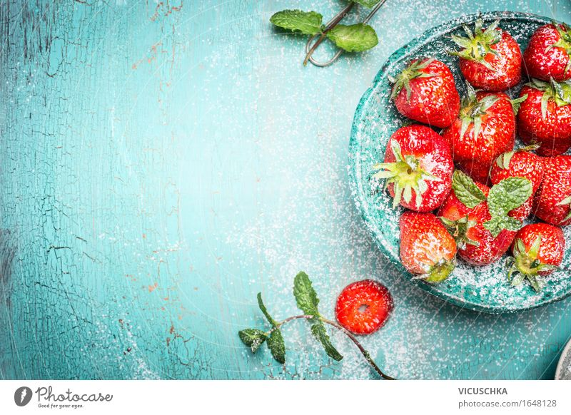 Strawberries with mint in turquoise bowl Food Fruit Dessert Nutrition Breakfast Organic produce Vegetarian diet Diet Bowl Healthy Eating Life Summer Nature