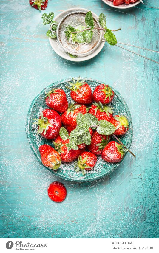 Strawberries with sieve with icing sugar Food Fruit Dessert Nutrition Breakfast Organic produce Vegetarian diet Diet Crockery Bowl Style Design Healthy Eating