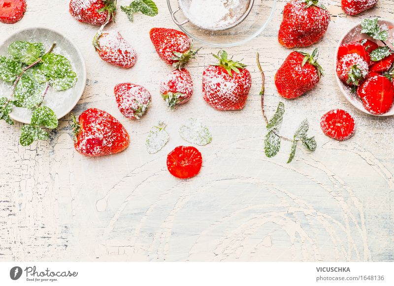 Delicious strawberries with mint and icing sugar Food Fruit Dessert Nutrition Breakfast Organic produce Vegetarian diet Diet Bowl Style Healthy Eating Life