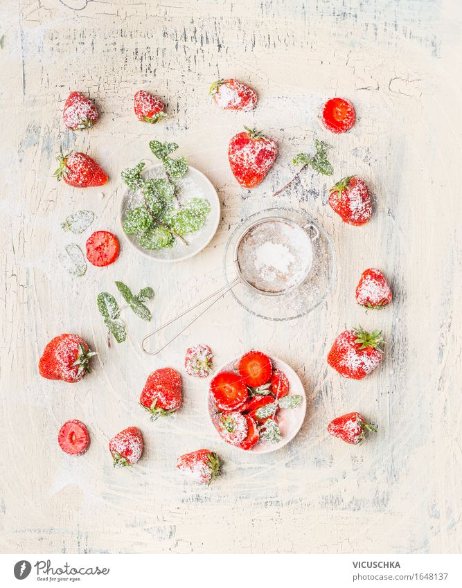 strawberries, icing sugar and mint leaves Food Fruit Dessert Nutrition Breakfast Organic produce Vegetarian diet Diet Plate Bowl Style Design Healthy Eating