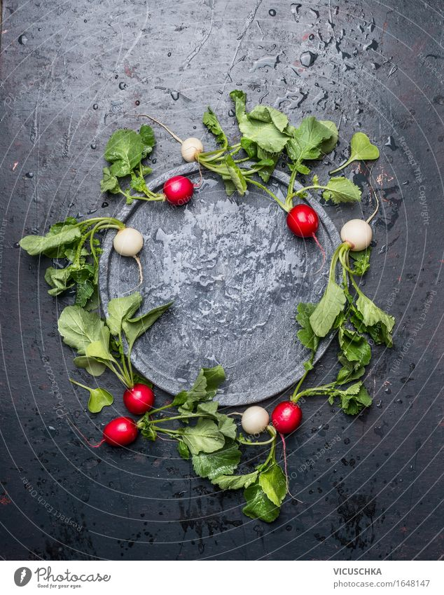 Excellent radish with leaves around empty slate plate Food Vegetable Lettuce Salad Nutrition Organic produce Vegetarian diet Diet Plate Lifestyle Style Design