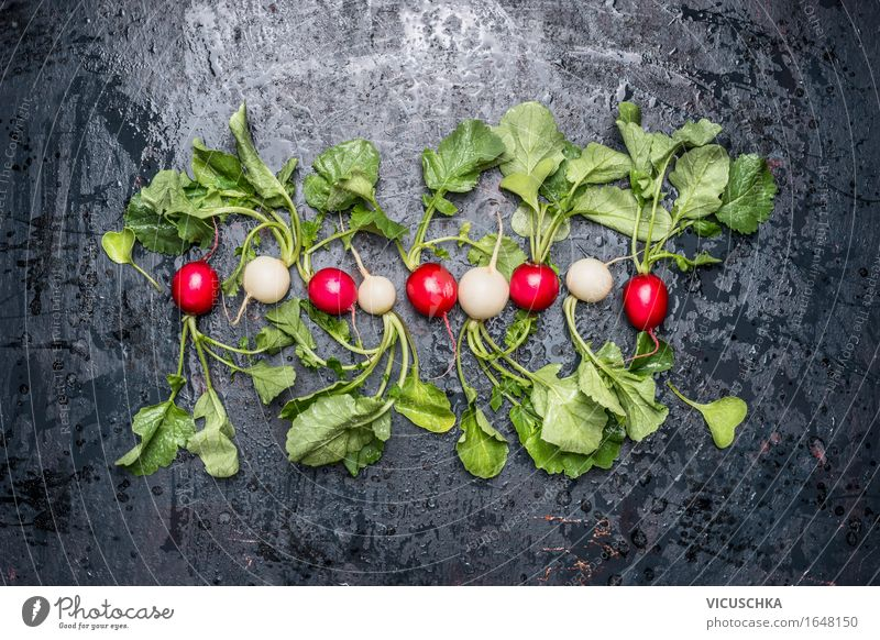 Fresh white and red radishes with leaves Food Vegetable Nutrition Organic produce Vegetarian diet Diet Style Design Healthy Eating Life Summer Nature Vegan diet
