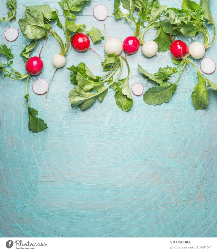 Fresh organic radishes from the garden on blue Food Vegetable Nutrition Lunch Organic produce Vegetarian diet Diet Style Design Healthy Eating Life Summer