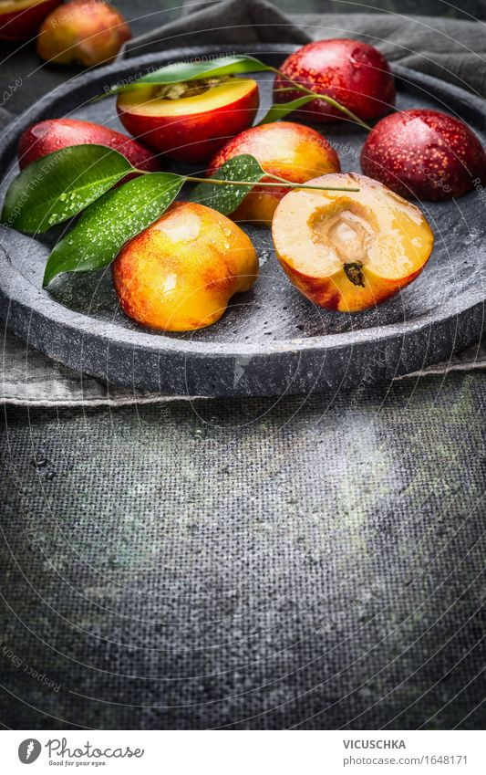 Fresh peaches with green leaves on stone slab Food Fruit Dessert Nutrition Organic produce Vegetarian diet Diet Juice Plate Style Design Healthy Eating Life