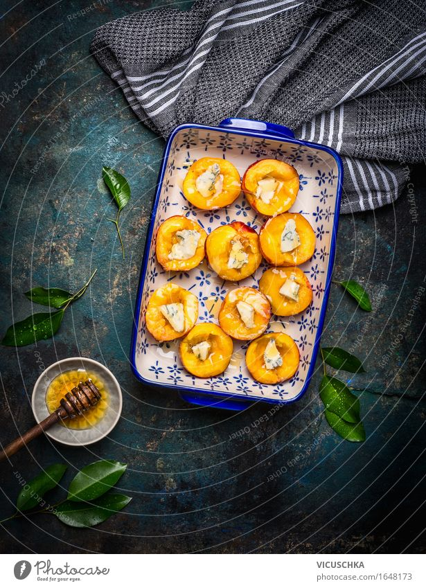 Peaches with cheese and honey in a baking tin Food Cheese Fruit Dessert Candy Nutrition Organic produce Vegetarian diet Style Design Healthy Eating Life