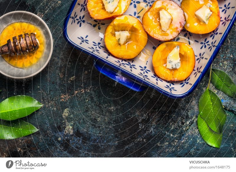 Peaches with cheese and honey in a baking tin Food Fruit Dessert Candy Nutrition Organic produce Vegetarian diet Diet Juice Crockery Plate Style Design