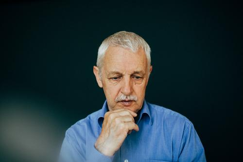 thoughtful old man with white hair Human being Masculine Male senior Man Grandfather Senior citizen Life 1 60 years and older Shirt White-haired Short-haired