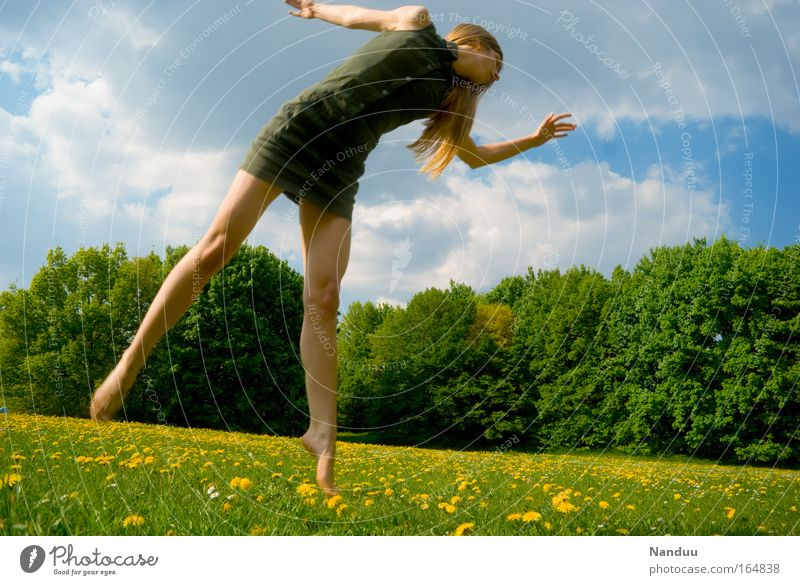 Human being Youth (Young adults) Blue Green Adults Yellow Meadow Feminine Life Young woman Dance 18 - 30 years Flying Dress Woman Thin
