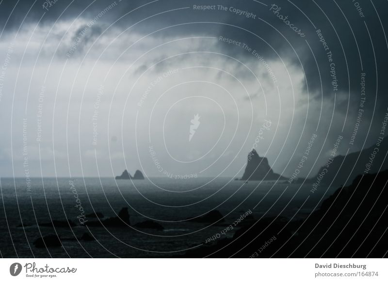 Sky Nature Blue Water Ocean Clouds Black Landscape Dark Mountain Coast Horizon Rock Rain Exceptional Climate