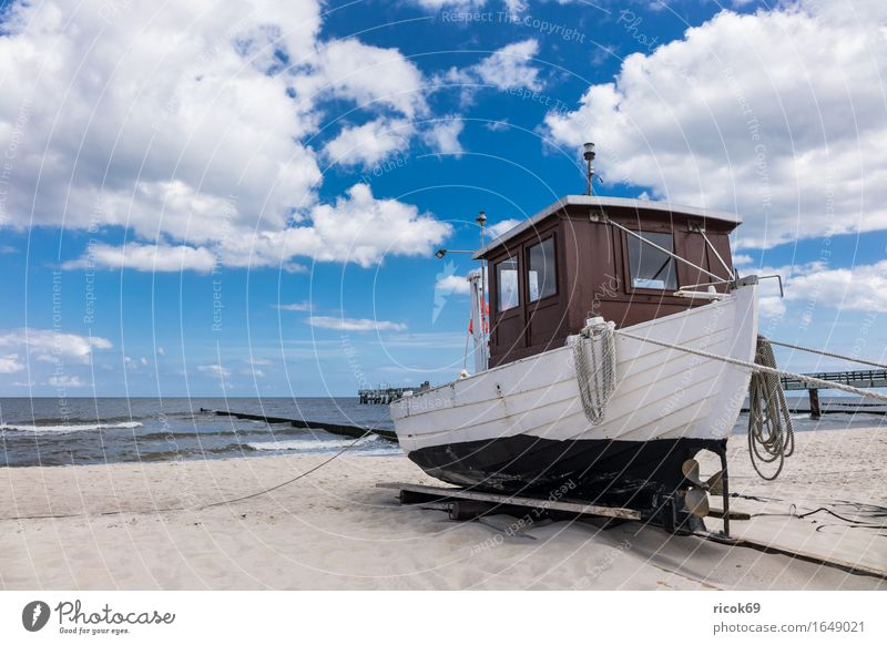 Fishing boat in Koserow on the island Usedom Vacation & Travel Tourism Beach Ocean Nature Landscape Sand Clouds Coast Baltic Sea Watercraft Blue Romance Idyll