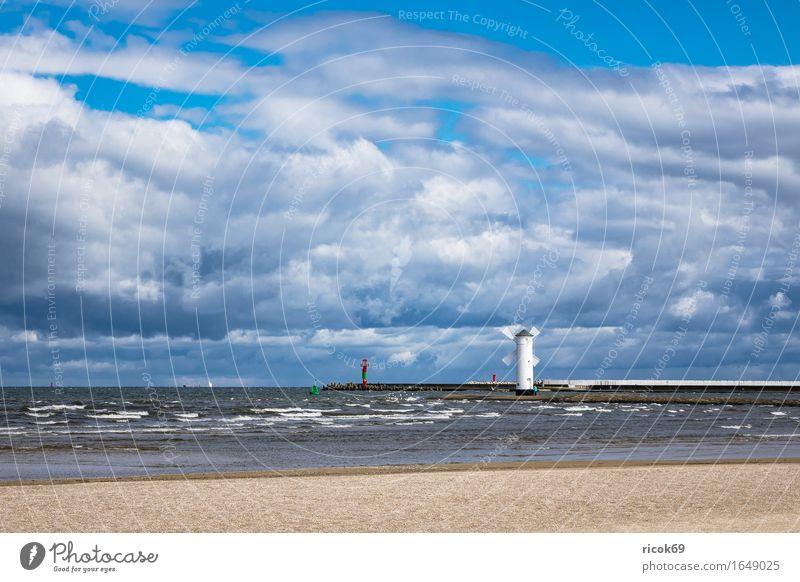 Nature Vacation & Travel Blue White Landscape Clouds Architecture Coast Tourism Waves Idyll Romance Baltic Sea Landmark Tourist Attraction Lighthouse
