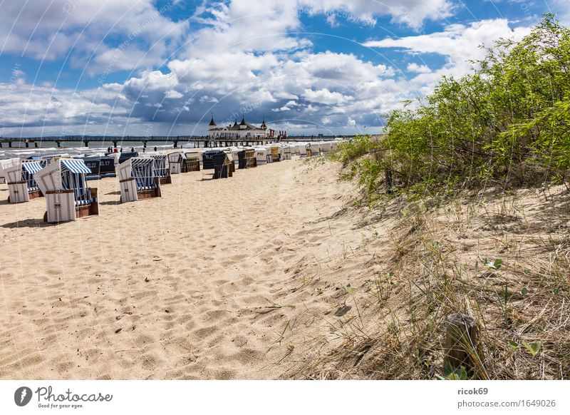 Sea bridge in Ahlbeck on the island Usedom Relaxation Vacation & Travel Tourism Beach Waves Sand Clouds Bushes Coast Baltic Sea Architecture Tourist Attraction