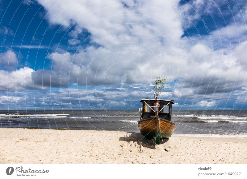 Fishing boat in Ahlbeck on the island Usedom Vacation & Travel Tourism Beach Ocean Nature Landscape Sand Water Clouds Coast Baltic Sea Watercraft Blue Romance