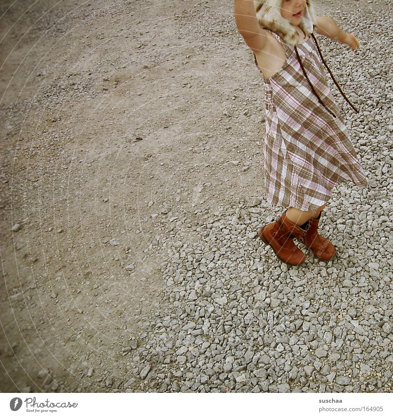 Child Girl Playing Movement Walking Happiness Dress Uniqueness Joie de vivre (Vitality) Infancy Cap Boots Creativity Whimsical
