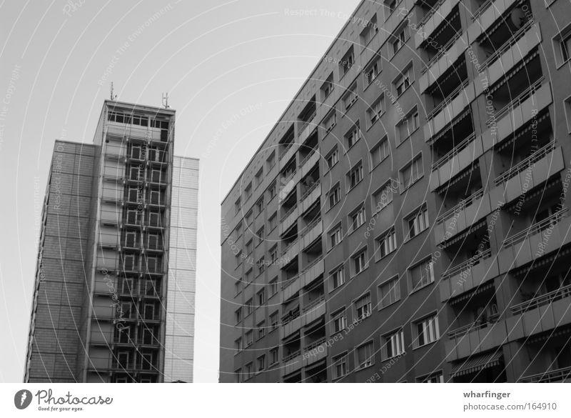 Dark Window Line Concrete Gloomy Dresden Balcony Geometry Prefab construction Dreary Heavy Demanding New building New settlement