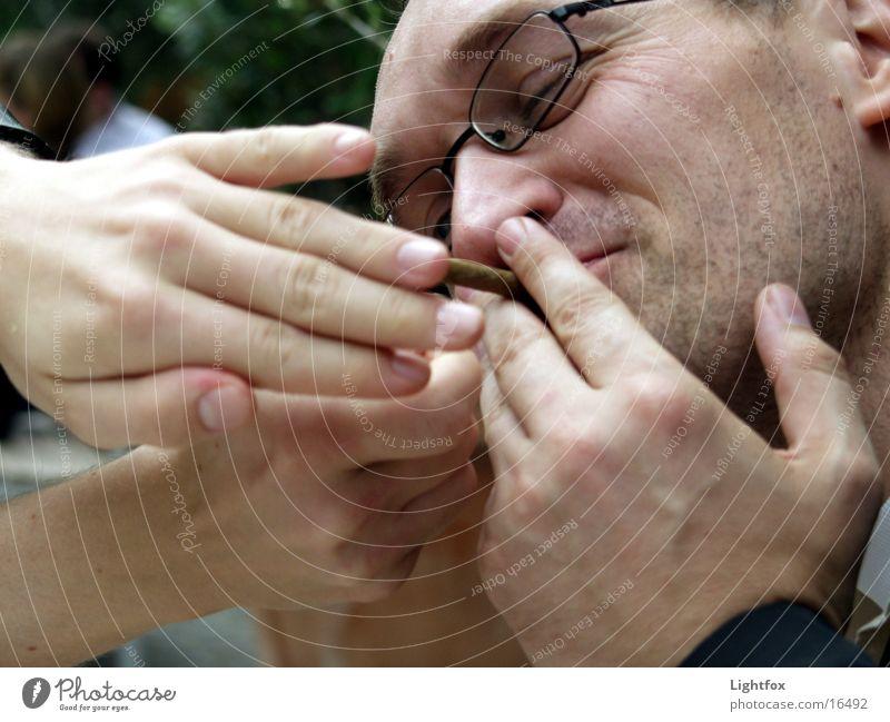 Human being Man Hand Joy Laughter Masculine Blaze Fingers Eyeglasses Ear Smoking Smoke Café Facial hair Cigarette Vessel