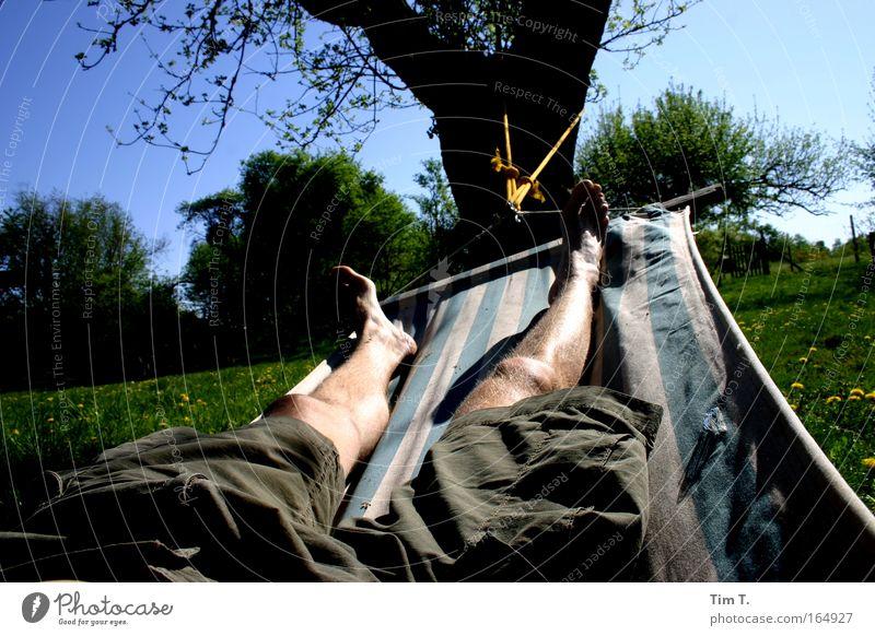 hammock Colour photo Exterior shot Day Sunlight Forward Joy Happy Harmonious Well-being Contentment Relaxation Calm Summer Garden Human being Masculine Man
