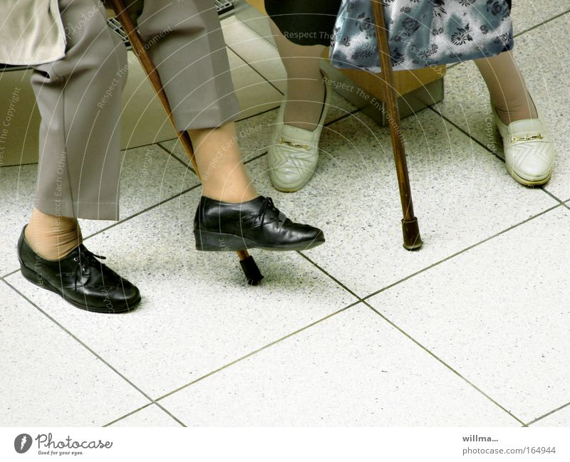 two seniors with walking aid Stock photo people 2 Female senior Legs feet Walking stick communication Retirement Relaxation Retirement pension To talk